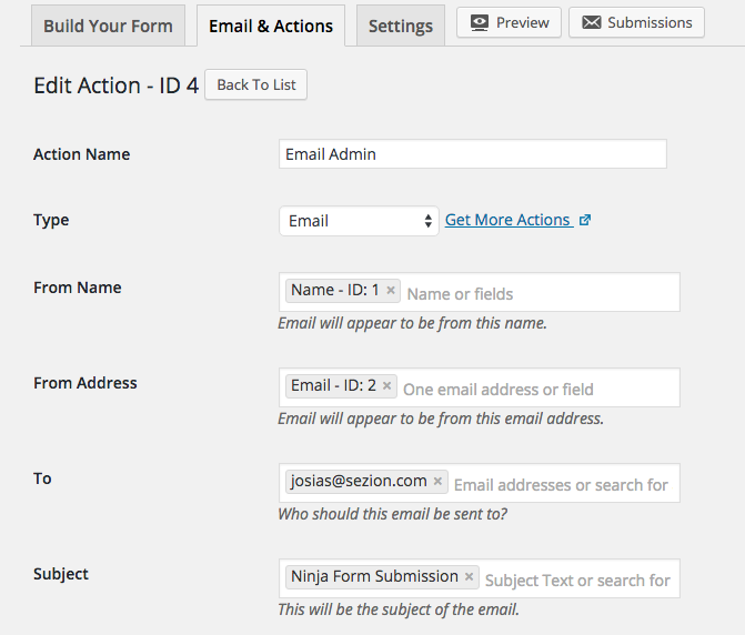 Ninja Forms Email Notification Setup